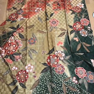 大正ロマン風 市松地紋に桜模様 刺繍と金彩の振り袖(振袖)
