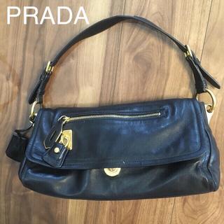 プラダ(PRADA)のPRADA ブラック レザー ハンドバッグ(ハンドバッグ)