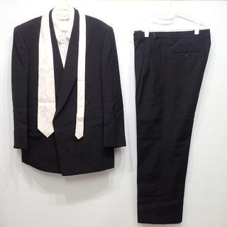 C591 中古礼服 喪服 スーツ 上下&白ネクタイセット 黒 ネーム入(セットアップ)