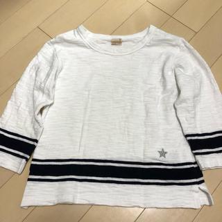プティマイン(petit main)のプティマイン ライン入り 7分袖Tシャツ(Tシャツ/カットソー)
