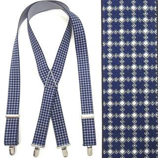 日本縫製 サスペンダー メンズ 紳士 ゴム インポート クレストチェック(サスペンダー)