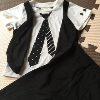 ムジルシリョウヒン(MUJI (無印良品))の男の子 フォーマル 90 無印良品 レギンス Tシャツ ブラック ネクタイ(ドレス/フォーマル)