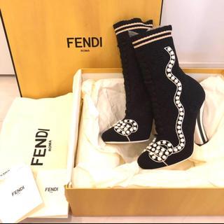 フェンディ(FENDI)のFENDI パールリボン ソックスブーツ(ブーツ)