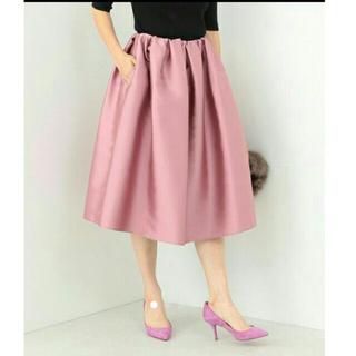 デミルクスビームス(Demi-Luxe BEAMS)のネイビーウール タックスカート(ひざ丈スカート)