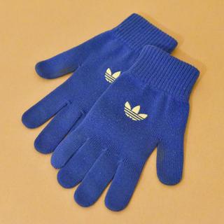 アディダス(adidas)のadidas ニットグローブ 手袋 青 フリーサイズ(手袋)