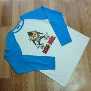 ガスバッグ(GASBAG)のGASBAG ヘッドロック■シルエット柄・長袖 Tシャツ■ 白 水色■メンズ L(Tシャツ/カットソー(七分/長袖))
