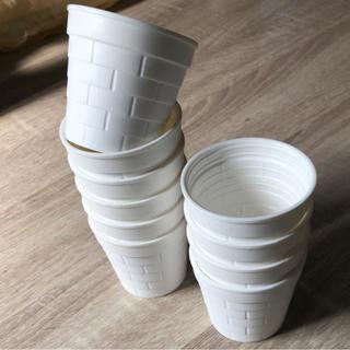 多肉植物用  プラ鉢 可愛いミニレンガ鉢 白色 10個セット(その他)