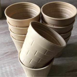 多肉植物用 プラ鉢 可愛いミニレンガ鉢 限定アイボリー色 20個セット(その他)