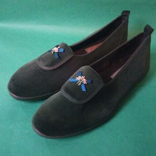 アサヒシューズ(アサヒシューズ)のアサヒ靴 キッズ グリーン ベルベット フラットシューズ(フォーマルシューズ)