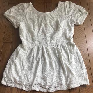 シマムラ(しまむら)のホワイト×トップス(カットソー(半袖/袖なし))