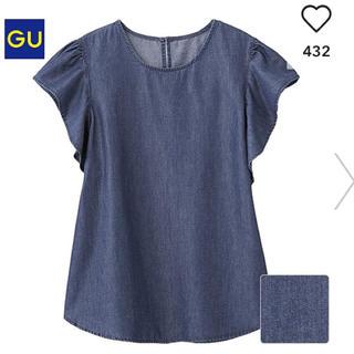ジーユー(GU)のGU ジーユー ブラウス  フリル デニム(シャツ/ブラウス(半袖/袖なし))