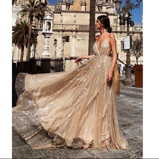 ザラ(ZARA)のゴールド ラメスパンコール フリル ワンピース ドレス 高級海外インポート(ロングドレス)