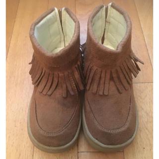 シマムラ(しまむら)の履きやすいブラウンのフリンジブーツ!16センチ!(ブーツ)