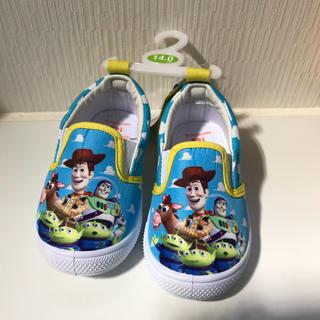 ディズニー(Disney)の新品 トイスートーリー スリッポン 14センチ ブルー イエロー バズ (スリッポン)