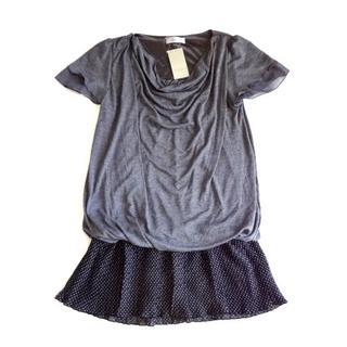シマムラ(しまむら)の新品 セオリア THEORIA ドレープ プリーツスカート使い ワンピース (ミニワンピース)