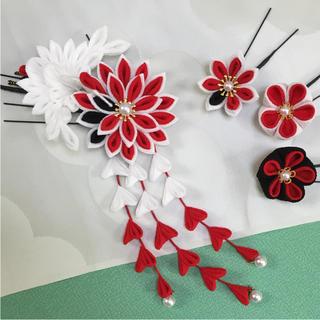 ♯205 ちりめんかんざし 鶴/6個セット 紅白 黒系(ヘアアクセサリー)