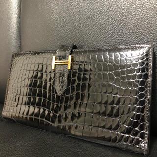 エルメス(Hermes)のHERMES エルメス ベアンクラシック クロコダイルポロサス ブラック 財布(長財布)