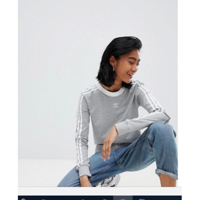 adidas(アディダス)のセール!新品☆adidas Originals グレー 長袖トップ♪ レディースのトップス(Tシャツ(長袖/七分))の商品写真