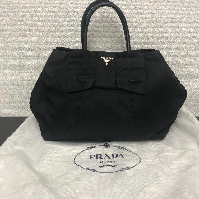 87bc37a53111 PRADA(プラダ)のプラダ ハンドバッグ リボンモチーフ 黒 テスート レディースのバッグ(トート