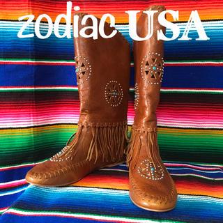 ゾディアック(ZODIAC)のZodiacゾディアックUS限定ネイティブフリンジレザーブーツ23.5cm(ブーツ)