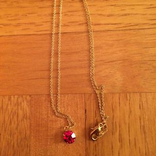 赤 ラインストーン ゴールド ネックレス(ネックレス)