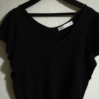 シマムラ(しまむら)の黒 トップス(カットソー(半袖/袖なし))