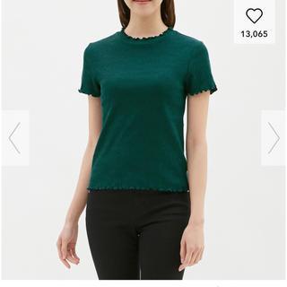 ジーユー(GU)の【値下げ】フリルネック ティシャツ 大きいサイズ GU(シャツ/ブラウス(半袖/袖なし))