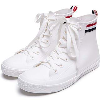 スニーカー カジュアルレインシューズ ファッション雨靴 レディーズ 靴紐 安値(レインブーツ/長靴)