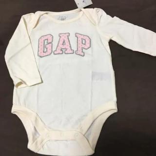 ベビーギャップ(babyGAP)のベビーギャップ ロゴ ロンパース 長袖 ボディスーツ 新品 80 女の子(ロンパース)