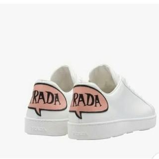 プラダ(PRADA)のPRADA レザー シューズ ロゴ スニーカー 白 ピンク メンズ 28 (スニーカー)
