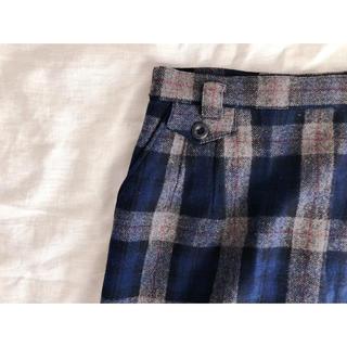 ウールチェックスカート(ひざ丈スカート)