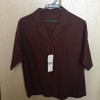 ジーユー(GU)のリネンブレンド オープンカラーシャツ(シャツ/ブラウス(半袖/袖なし))