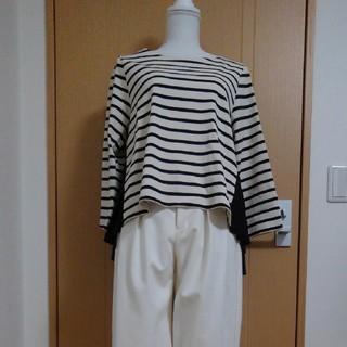 グローブ(grove)のgrove 長袖ボーダー×プリーツ カットソー(Tシャツ(長袖/七分))