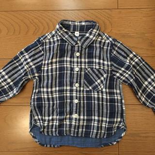 MUJI (無印良品) - 無印良品 オーガニックコットン2重ガーゼシャツ 90