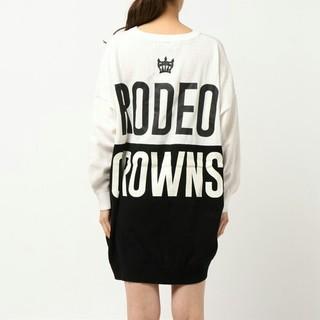ロデオクラウンズ(RODEO CROWNS)のロデオクラウンズ 後ろロゴ入りバイカラードルマンビッグニット ワンピース(その他)