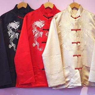 ナディア(NADIA)の龍刺繍チャイナトップス ベージュ(シャツ/ブラウス(長袖/七分))