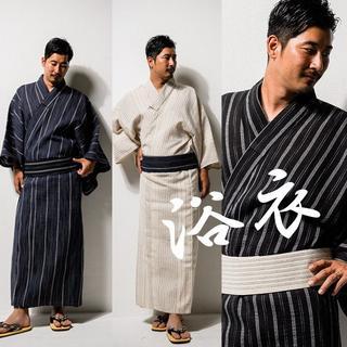 【浴衣SALE】紳士しじら織浴衣 M L 3カラー(浴衣)