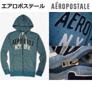 エアロポステール(AEROPOSTALE)の新品◆エアロポステール フルジップ パーカー◆L ブルー(パーカー)