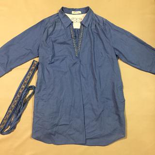 【新品】七分袖ビジューブラウス ブルー LLサイズ(シャツ/ブラウス(長袖/七分))