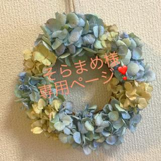 秋色紫陽花のドライリースブルーグリーン(ドライフラワー)