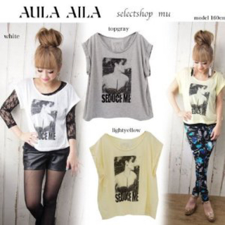 アウラアイラ(AULA AILA)の未使用*定価8190* アウラアイラ*プリント オフショル Tシャツ カットソー(Tシャツ(半袖/袖なし))