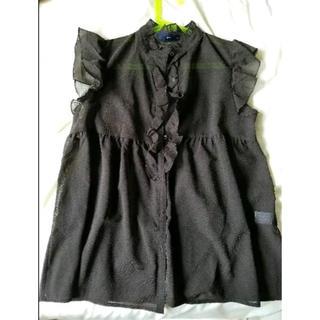 ジーユー(GU)のGU フリル ノースリーブ トップス(シャツ/ブラウス(半袖/袖なし))