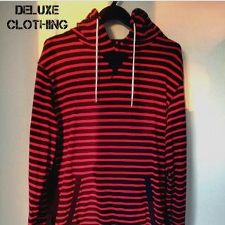 デラックス(DELUXE)の美品 DELUXE デラックス スウェット パーカー ボーダー L (パーカー)