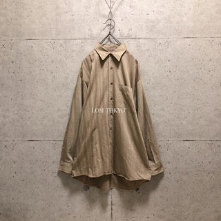 [used]brown design stripe rayon shirt.(シャツ)