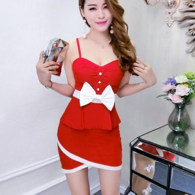 c5d04f4d7d141 赤 白 バイカラー リボン ワンピ ドレス サンタ サンタコス コスプレ レディースのフォーマル ドレス(