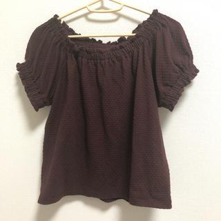 ジーユー(GU)の2wayブラウス ブラウン(シャツ/ブラウス(半袖/袖なし))