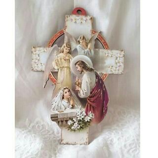 【新品、未使用】イエス様と少女   十字架 壁掛け  イタリア製