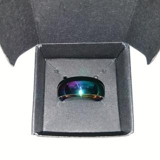【メンズ】虹色に輝くチタン製の指輪22号★箱アリ(リング(指輪))