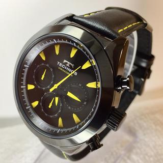テクノス(TECHNOS)のテクノス クロノグラフ ブラック 新品未使用 牛革バント(腕時計(アナログ))