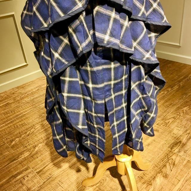 【新品】青チェックのロングスカート レディースのスカート(ロングスカート)の商品写真
